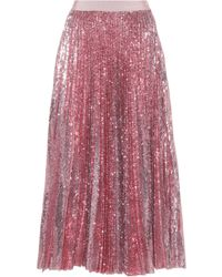 MSGM - Pleated Sequinned Skirt - Lyst
