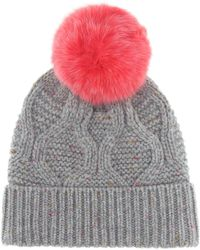 b815a93750c Lyst - Yves Salomon Maille Renard Wool And Cashmere Hat in Brown