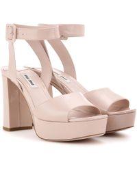 Miu Miu - Patent-Leather Platform Sandals - Lyst