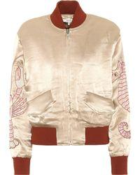 Ganni - Embroidered Satin Bomber Jacket - Lyst