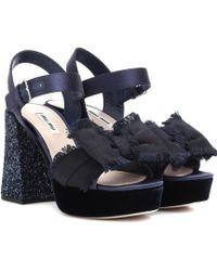 Miu Miu - Embellished Plateau Sandals - Lyst