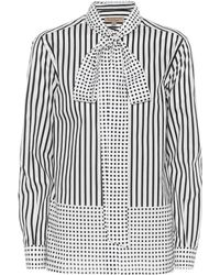 Burberry - Striped And Polka-dot Cotton Shirt - Lyst