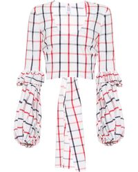 Rosie Assoulin - Pfff Checked Cotton-blend Top - Lyst