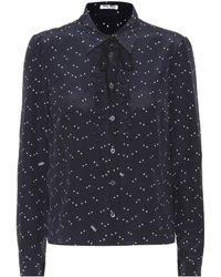794f42303be1 Lyst - Miu Miu Ruffle Embellished Silk Blouse in Blue