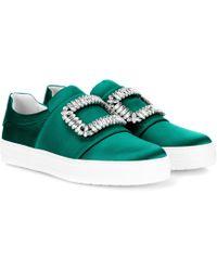 Roger Vivier - Sneaky Viv' Embellished Satin Sneakers - Lyst
