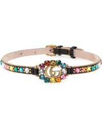 Gucci - GG Embellished Leather Choker - Lyst