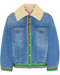964f65d9c9d Gucci - Veste en jean et shealing synthétique - Lyst