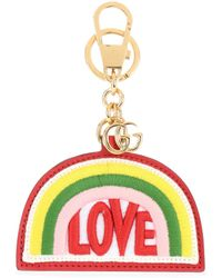 Gucci - Rainbow Embroidered Leather Keychain - Lyst