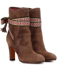 Etro 95MM SUEDE & SHEARLING ANKLE BOOTS m4k6ifi