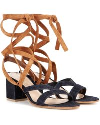 Gianvito Rossi - Janis Low Denim And Suede Sandals - Lyst