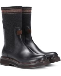 Brunello Cucinelli - Cashmere And Leather Ankle Boots - Lyst
