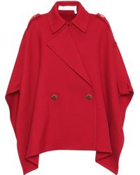 See By Chloé - Cotton-blend Poncho Jacket - Lyst