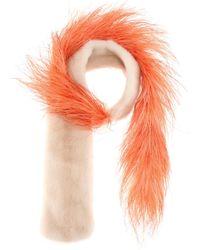 Prada - Fur And Feather Scarf - Lyst