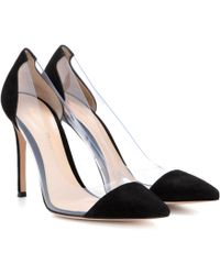 Gianvito Rossi - Plexi Suede And Transparent Court Shoes - Lyst