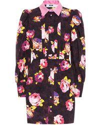 MSGM - Rose Cotton Shirt Dress - Lyst
