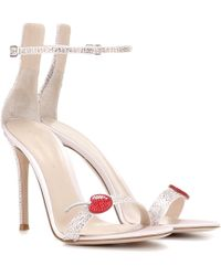 Gianvito Rossi - Cherry Portofino Embellished Satin Sandals - Lyst