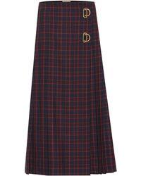 Burberry - Checked Wool Midi Skirt - Lyst