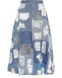 Junya Watanabe - Falda de jeans en patchwork - Lyst