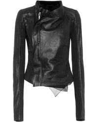 Rick Owens - Low Neck Biker Leather Jacket - Lyst