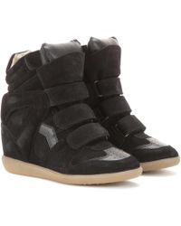 Isabel Marant - Toile Bekett Leather And Suede Wedge Sneakers - Lyst