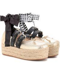 Miu Miu - Leather Platform Ballerinas - Lyst