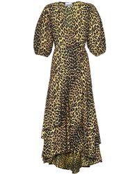 Ganni - Printed Cotton Wrap Dress - Lyst