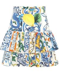 Dolce & Gabbana - Majolica Cotton Miniskirt - Lyst