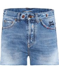 Saint Laurent | Embroidered Denim Shorts | Lyst