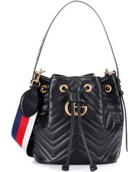 Gucci - Gg Marmont Leather Bucket Bag - Lyst