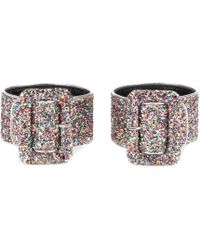 Attico - Glitter-coated Leather Anklets - Lyst