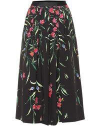 Carolina Herrera - Falda midi de algodón floral - Lyst 0a1e96243c73