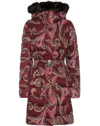Etro - Faux Fur-trimmed Printed Coat - Lyst