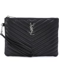 Saint Laurent - Monogram Leather Pouch - Lyst