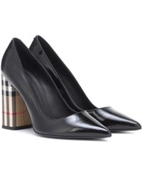 Burberry - Vintage Check And Leather Pumps - Lyst