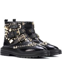 Burberry - Everdon Embellished Leather Ankle Boots - Lyst