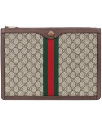 102bcf4fc8c2 Gucci Bengal Print Gg Supreme Pouch in Natural - Lyst