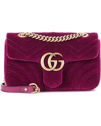 e503a0f0e2219 Lyst - Gucci Gg Marmont Mini Velvet Shoulder Bag in Red