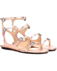 9d9ac86d30f0 Jimmy Choo - Naia Embellished Leather Sandals - Lyst