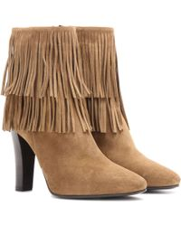 Saint Laurent - Lily 95 Fringed Suede Ankle Boots - Lyst