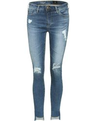 AG Jeans - Middi Ankle Distressed Jeans - Lyst