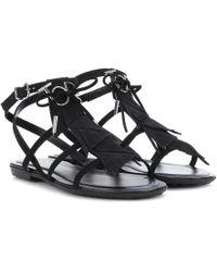 Tod's - Suede Fringe Logo Sandals - Lyst