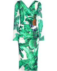Dolce & Gabbana - Printed Embellished Silk-blend Wrap Dress - Lyst