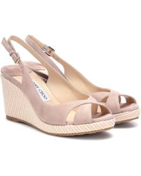 Jimmy Choo - Amely 80 Suede Wedge Sandals - Lyst