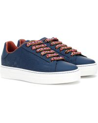 Etro - Embossed Leather Trainers - Lyst