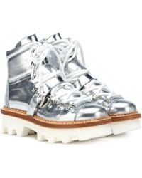Moncler Grenoble - Metallic Leather Ankle Boots - Lyst