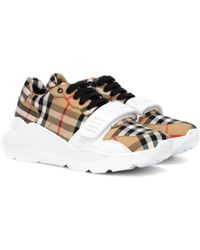 Burberry - Regis Checked Trainers - Lyst