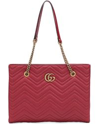Gucci - GG Marmont Medium Matelassé Leather Tote - Lyst