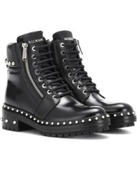 Balmain Ranger Embellished Leather Ankle Boots