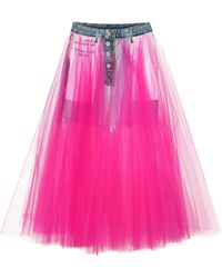 Unravel - Tulle And Denim Skirt - Lyst