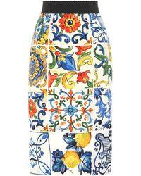 Dolce & Gabbana - Printed Stretch-silk Skirt - Lyst